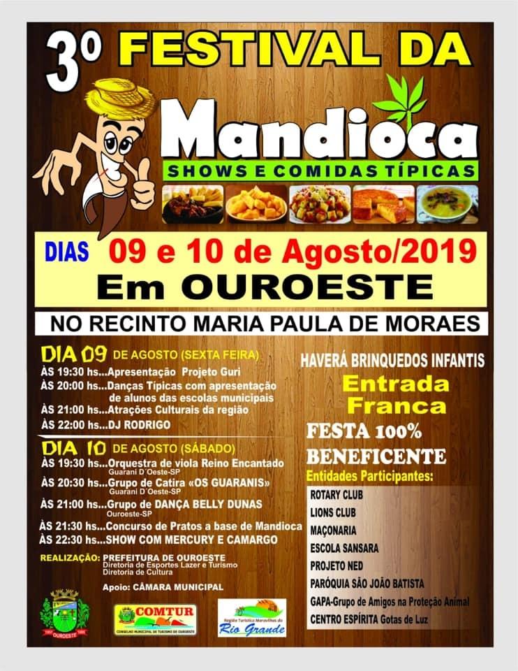 3º FESTIVAL DA MANDIOCA - 09 E 10 DE AGOSTO DE 2019 - RECINTO MARIA PAULA DE MORAES