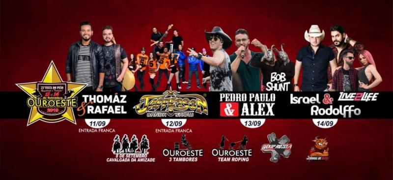OUROESTE VAI PARAR... DE 11 A 14 DE SETEMBRO...23ª FESTA DO PEÃO